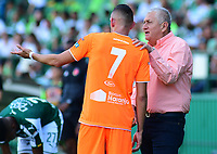 PALMIRA - COLOMBIA, 05-05-2019: Eduardo Lara técnico de Envigado da instrucciones a Neyder Moreno durante el partido entre Deportivo Cali y Envigado F.C. como parte de la Liga Águila I 2019 jugado en el estadio Deportivo Cali de la ciudad de Palmira. / Eduardo Lara coach of Envigado gives directios to Neyder Moreno during match between Deportivo Cali and Envigado F.C. for the date 20 as part of Aguila League I 2019 played at Deportivo Cali stadium in Palmira city .  Photo: VizzorImage/ Nelson Rios / Cont
