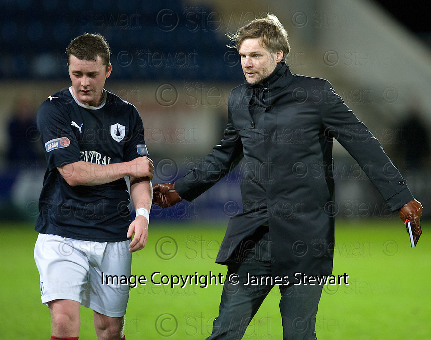 FALKIRK MANAGER STEVEN PRESSLEY AND TAM SCOBBIE AT THE END OF THE GAME