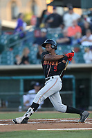 Kyle Lewis (5) of the Modesto Nuts bats against the Lancaster JetHawks at The Hanger on September 13, 2017 in Lancaster, California. Modesto defeated Lancaster, 8-5. (Larry Goren/Four Seam Images)