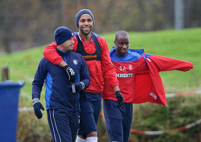 Kyle Bartley and Adam Owen with Sone Aluko