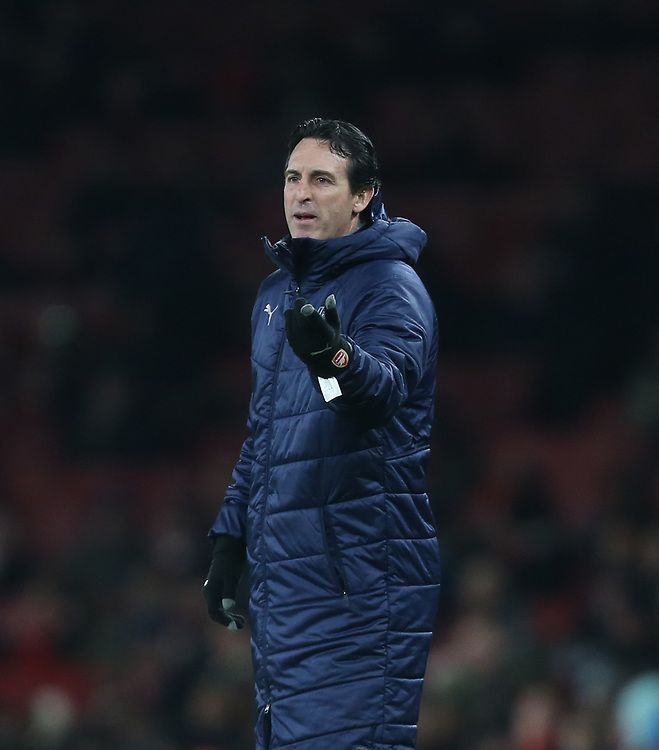 Arsenal manager Unai Emery <br /> <br /> Photographer Rob Newell/CameraSport<br /> <br /> UEFA Europa League Group E - Arsenal v FK Qarabag - Thursday 13th December 2018 - Emirates Stadium - London<br />  <br /> World Copyright © 2018 CameraSport. All rights reserved. 43 Linden Ave. Countesthorpe. Leicester. England. LE8 5PG - Tel: +44 (0) 116 277 4147 - admin@camerasport.com - www.camerasport.com
