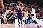 Turkish Airlines Euroleague 2018/2019. <br /> Regular Season-Round 18.<br /> FC Barcelona Lassa vs Panathinaikos Opap Athens: 79-68.<br /> Konstantinos Mitoglou, Pau Ribas, Nikos Pappas & Sthephane Lasme.