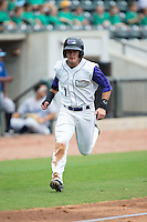 Eddy Alvarez (1) of the Winston-Salem Dash scores a run in the bottom of the first inning against the Wilmington Blue Rocks at BB&T Ballpark on July 29, 2015 in Winston-Salem, North Carolina.  The Dash defeated the Blue Rocks 5-4 in game one of a double-header.  (Brian Westerholt/Four Seam Images)