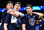 SAN ANTONIO, TX - APRIL 02: Donte DiVincenzo #10 of the Villanova Wildcats celebrates after the 2018 NCAA Men's Final Four National Championship game against the Michigan Wolverines at the Alamodome on April 2, 2018 in San Antonio, Texas.  (Photo by Brett Wilhelm/NCAA Photos via Getty Images)