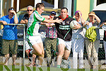 Ian Twiss Milltown-Castlemaine in action against Luke Mulligan Saint Brendans in the First Round of the Kerry Senior Football Championship at Milltown on Sunday.