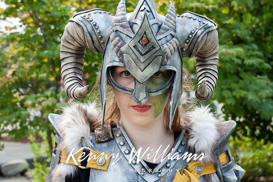 Female Warrior Wearing Ram Helmet & Armor, Renton City Comicon 2017, Washington, USA.
