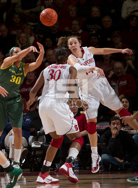STANFORD, CA - February 26, 2011:  Kayla Pedersen blocks a pass Stanford's 99-60 victory over Oregon at Stanford, California on February 26, 2011.