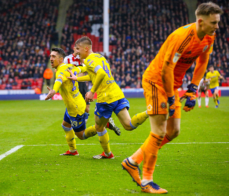 Leeds United's Pablo Hernandez celebrates scoring the opening goal <br /> <br /> Photographer Alex Dodd/CameraSport<br /> <br /> The EFL Sky Bet Championship - Sheffield United v Leeds United - Saturday 1st December 2018 - Bramall Lane - Sheffield<br /> <br /> World Copyright © 2018 CameraSport. All rights reserved. 43 Linden Ave. Countesthorpe. Leicester. England. LE8 5PG - Tel: +44 (0) 116 277 4147 - admin@camerasport.com - www.camerasport.com