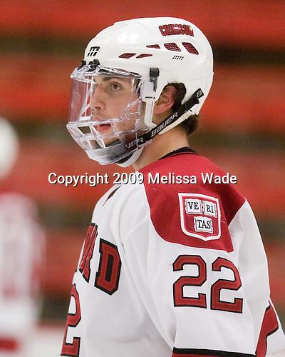 David Valek (Harvard - 22) - The Dartmouth College Big Green defeated the Harvard University Crimson 6-2 on Sunday, November 29, 2009, at Bright Hockey Center in Cambridge, Massachusetts.