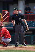 Umpire Junior Valentine during a game between the Harrisburg Senators and Erie Seawolves on August 30, 2015 at Jerry Uht Park in Erie, Pennsylvania.  Harrisburg defeated Erie 4-3.  (Mike Janes/Four Seam Images)