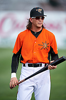 Baltimore Orioles Colby Rasmus (37), on rehab assignment with the Frederick Keys, during warmups before the first game of a doubleheader against the Lynchburg Hillcats on June 13, 2018 at Nymeo Field at Harry Grove Stadium in Frederick, Maryland.  Frederick defeated Lynchburg 3-0.  (Mike Janes/Four Seam Images)