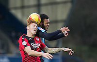 Josh Yorwerth of Crawley Town and Aaron Amadi-Holloway of Wycombe Wanderers during the Sky Bet League 2 match between Wycombe Wanderers and Crawley Town at Adams Park, High Wycombe, England on 28 December 2015. Photo by Andy Rowland / PRiME Media Images