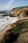 CA, California, Sonoma Coast, Bodega Head dunes, model released.    .Photo cabeac202..Photo Copyright Lee Foster, www.fostertravel.com, 510-549-2202, lee@fostertravel.com