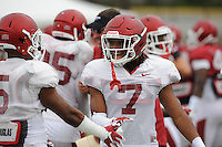 NWA Democrat-Gazette/ANDY SHUPE<br /> Arkansas defensive back Willie Sykes (7) smiles Tuesday, Aug. 18, 2015, during practice at the university's practice field in Fayetteville.