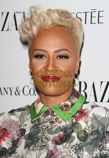Emeli Sande.Harper's Bazaar Woman of the Year Awards at Claridge's Hotel, London, England..October 31, 2012 .headshot portrait collar trim lipstick black white green brown red floral print .CAP/ROS.©Steve Ross/Capital Pictures