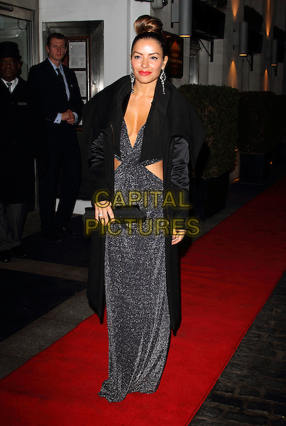 Elen Rivas.Daily Mail Inspirational Woman of The Year Awards at the Marriott Grosvenor Square Hotel, London, England..January 18th, 2012.full length dress cut out away black coat grey gray clutch bag low cut cleavage .CAP/ROS.©Steve Ross/Capital Pictures