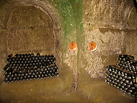 Bottles of vintage years 1970 and 1971 Rosso Wine in the cellar of estate of Le Velette, Orvieto, Ital