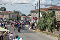 Peloton chasing.<br /> <br /> Stage 2: Mouilleron-Saint-Germain > La Roche-sur-Yon (183km)<br /> <br /> Le Grand Départ 2018<br /> 105th Tour de France 2018<br /> ©kramon