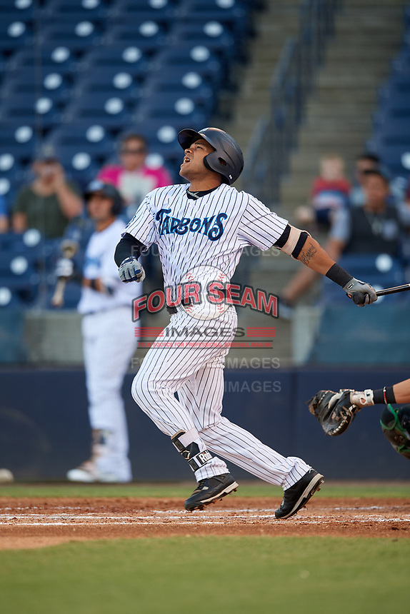 Tampa Tarpons designated hitter Timothy Robinson (30) follows through on a swing during a game against the Daytona Tortugas on April 18, 2018 at George M. Steinbrenner Field in Tampa, Florida.  Tampa defeated Daytona 12-0.  (Mike Janes/Four Seam Images)