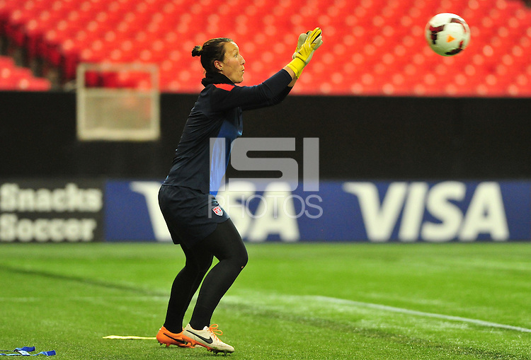 Atlanta, GA. - Tuesday, February 11, 2014: US Women's National Team training session at the Georgia Dome prior to there match vs. Russia.