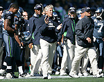 Seattle Seahawks head coach Pete Carroll applauds the play of his defensive unit against the Arizona Cardinals at CenturyLink Field in Seattle, Washington September 25, 2011.  The Seahawks beat the Cardinals 13-10.  ©2011 Jim Bryant Photo. All Rights Reserved.