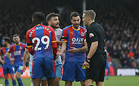 Crystal Palace's Luka Milivojevic and West Ham United's Robert Snodgrass appeal to referee Craig Pawson<br /> <br /> Photographer Rob Newell/CameraSport<br /> <br /> The Premier League - Saturday 9th February 2019  - Crystal Palace v West Ham United - Selhurst Park - London<br /> <br /> World Copyright © 2019 CameraSport. All rights reserved. 43 Linden Ave. Countesthorpe. Leicester. England. LE8 5PG - Tel: +44 (0) 116 277 4147 - admin@camerasport.com - www.camerasport.com