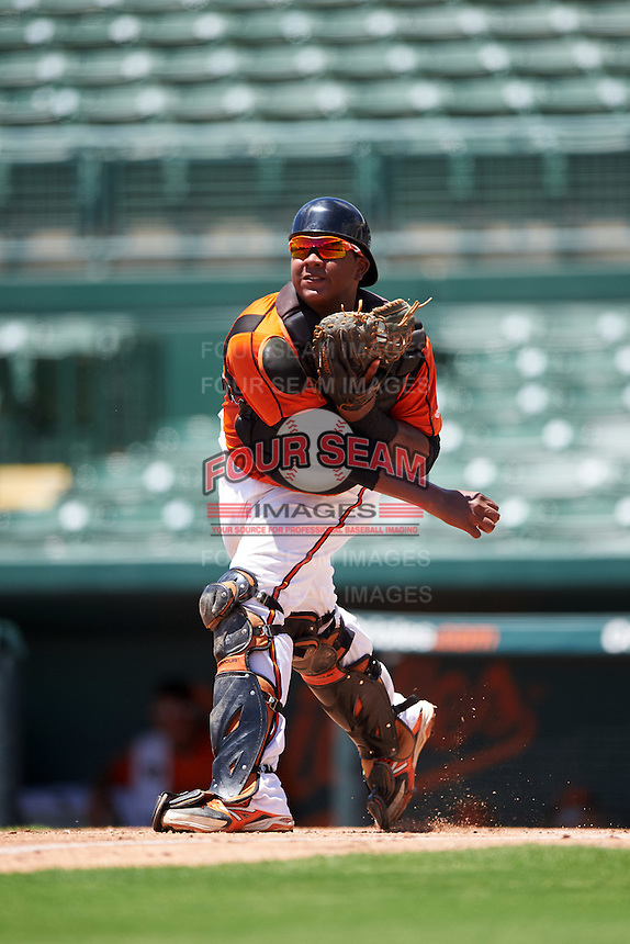 GCL Orioles catcher Jean Carrillo (36) throws down to third during a game against the GCL Twins on August 11, 2016 at the Ed Smith Stadium in Sarasota, Florida.  GCL Twins defeated GCL Orioles 4-3.  (Mike Janes/Four Seam Images)