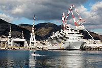 Genova: il cantiere navale di Fincantieri a Sestri Ponente..Nella foto l'ultima commessa del cantiere