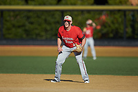 Gardner-Webb Runnin' Bulldogs first baseman Chandler Redmond (35) on defense against the Wake Forest Demon Deacons at David F. Couch Ballpark on February 18, 2018 in  Winston-Salem, North Carolina. The Demon Deacons defeated the Runnin' Bulldogs 8-4 in game one of a double-header.  (Brian Westerholt/Four Seam Images)