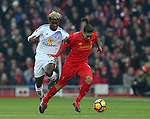 Didier Ndong of Sunderland tussles with Roberto Firmino of Liverpool during the Premier League match at the Anfield Stadium, Liverpool. Picture date: November 26th, 2016. Pic Simon Bellis/Sportimage