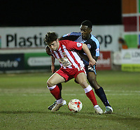 Shay McCartan of Accrington Stanley and Anthony Stewart of Wycombe Wanderers <br /> <br /> during the Sky Bet League 2 match between Accrington Stanley and Wycombe Wanderers at the Wham Stadium, Accrington, England on 16 March 2016. Photo by Tony (KIPAX) Greenwood / PRiME Media Images.