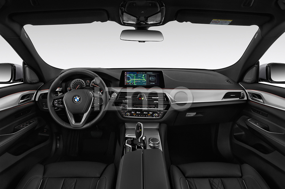 Stock photo of straight dashboard view of a 2018 BMW 6 series gran turismo Sport 5 Door Hatchback