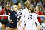 KANSAS CITY, KS - DECEMBER 14: Kendall White and Simone Lee #22 of Penn State University celebrate a point against the University of Nebraska during the Division I Women's Volleyball Semifinals held at Sprint Center on December 14, 2017 in Kansas City, Missouri. (Photo by Tim Nwachukwu/NCAA Photos via Getty Images)