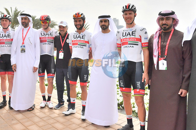 UAE Team Emirtaes stars Dan Martin (IRL), Alexander Kristoff (NOR), Fernando Gaviria (COL) and Rui Costa (POR) before the start of Stage 5 of the 2019 UAE Tour, running 181km form Sharjah to Khor Fakkan, Dubai, United Arab Emirates. 28th February 2019.<br /> Picture: LaPresse/Massimo Paolone | Cyclefile<br /> <br /> <br /> All photos usage must carry mandatory copyright credit (© Cyclefile | LaPresse/Massimo Paolone)
