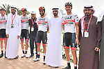 UAE Team Emirtaes stars Dan Martin (IRL), Alexander Kristoff (NOR), Fernando Gaviria (COL) and Rui Costa (POR) before the start of Stage 5 of the 2019 UAE Tour, running 181km form Sharjah to Khor Fakkan, Dubai, United Arab Emirates. 28th February 2019.<br /> Picture: LaPresse/Massimo Paolone | Cyclefile<br /> <br /> <br /> All photos usage must carry mandatory copyright credit (&copy; Cyclefile | LaPresse/Massimo Paolone)