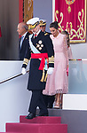 King Felipe VI and Queen Letizia of Spain during the Military parade because of the Spanish National Holiday. October 12, 2019.. (ALTERPHOTOS/ Francis Gonzalez)