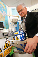 Newson Gale of Nottingham boss Ernest Kochman shows off some of his firm's anti static clamps
