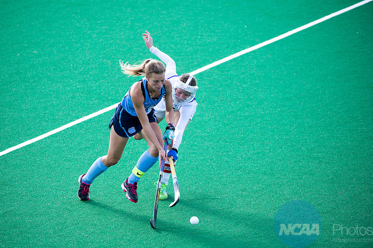 NORFOLK, VA - NOVEMBER 20:  Maura Zarkoski (18) of the University of Delaware defends Julia Young (16) of the University of North Carolina during the Division I Women's Field Hockey Championship held at the LR Hill Sports Complex on November 20, 2016 in Norfolk, Virginia.  Delaware defeated North Carolina 3-2 for the national title. (Photo by Jamie Schwaberow/NCAA Photos via Getty Images)