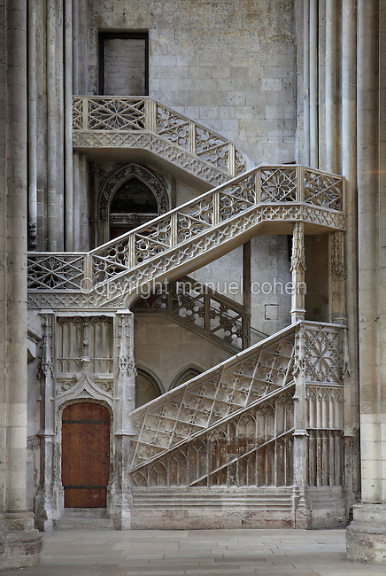 The Escalier des Libraires, a staircase leading to the cathedral library, built 1480 in Flamboyant Gothic style by Guillaume Pontis, at the North transept of Rouen Cathedral or the Cathedrale de Notre Dame de Rouen, built 12th century in Gothic style, with work continuing through the 13th and 14th centuries, Rouen, Normandy, France. Picture by Manuel Cohen