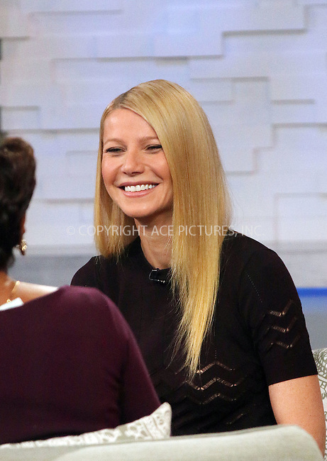 WWW.ACEPIXS.COM<br /> <br /> January 14 2015, New York City<br /> <br /> Actress Gwyneth Paltrow made an appearance at 'Good Morning America' on January 14 2015 in New York City<br /> <br /> By Line: Zelig Shaul/ACE Pictures<br /> <br /> <br /> ACE Pictures, Inc.<br /> tel: 646 769 0430<br /> Email: info@acepixs.com<br /> www.acepixs.com