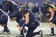 Morgantown, WV - November 19, 2016: West Virginia Mountaineers quarterback Skyler Howard (3) calls a play during game between Oklahoma and WVU at  Mountaineer Field at Milan Puskar Stadium in Morgantown, WV.  (Photo by Elliott Brown/Media Images International)