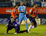 Picture by David Horn/eXtreme Aperture Photography +44 7545 970036<br /> 26/11/2013<br /> Andre Gray of Luton Town (right) celebrates scoring his team's third goal as Danny Hurst of Southport (centre) looks dejected during the Skrill Premier match at Kenilworth Road, Luton.