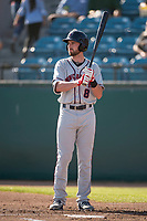 Lancaster JetHawks left fielder Vince Fernandez (8) at bat during a California League game against the San Jose Giants at San Jose Municipal Stadium on May 12, 2018 in San Jose, California. Lancaster defeated San Jose 7-6. (Zachary Lucy/Four Seam Images)