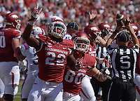 NWA Democrat-Gazette/BEN GOFF @NWABENGOFF<br /> Rawleigh Williams III (22), Arkansas running back, and Drew Morgan (80), Arkansas wide receiver, celebrate after Williams scored a touchdown against Louisiana Tech in the first quarter on Saturday Sept. 3, 2016 during the game in Razorback Stadium in Fayetteville.