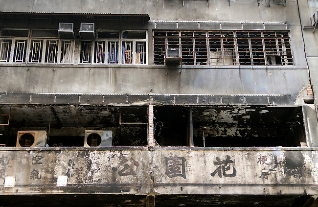 Fa Yuen fashion shopping street in Hong Kong after fire destroyed several shops