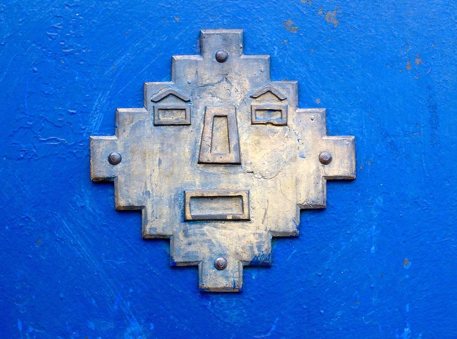 Metalwork on blue door, Cuzco, Peru