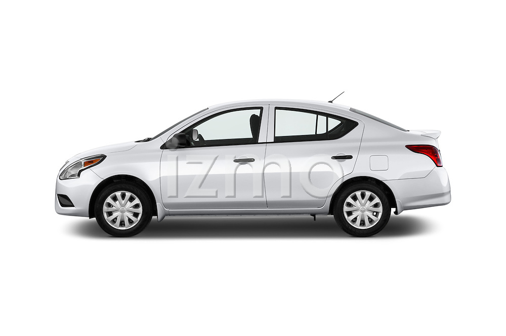 Car Driver side profile view of a 2015 Nissan Versa 1.6 SV CVT 4 Door Sedan Side View