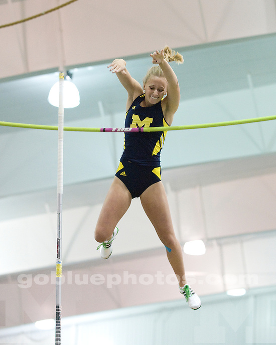 The University of Michigan women's track and field team in action at the Michigan Open at the Michigan Indoor Track and Field Building on January 7, 2012.