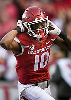 NWA Democrat-Gazette/CHARLIE KAIJO Arkansas Razorbacks wide receiver Jordan Jones (10) scores in the first half during a football game on Friday, November 24, 2017 at Razorback Stadium in Fayetteville.