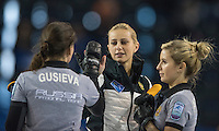 Glasgow. SCOTLAND.  {C}, Victoria MOISEEVA, {L} Julia GUZIEVA  {R} Galina ARSENKINA,  during  the &quot;Round Robin&quot; Game.  Scotland vs Russia,  Le Gruy&egrave;re European Curling Championships. 2016 Venue, Braehead  Scotland<br /> Thursday  24/11/2016<br /> <br /> [Mandatory Credit; Peter Spurrier/Intersport-images]